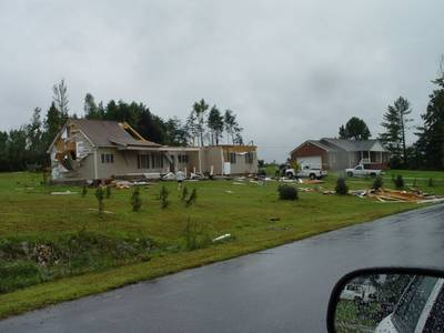 Photo of damage to houses from a tornado spawned from Hurricane Ivan.