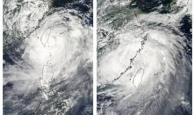 Satellite images showing Typhoon Morakot decreased in strength after passing over the mountains of Taiwan.