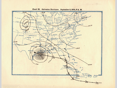Old map with a track of the hurricane.