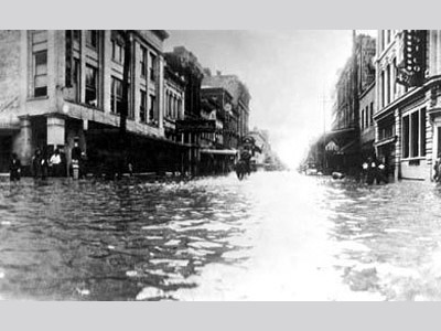Image of a city block filled waist deep with water