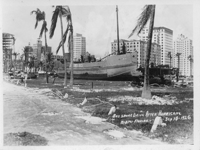 A large boat sitting inland amongst palm trees with city buildings close by.