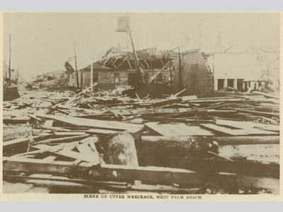 Rubble and destoyed homes in West Palm Beach, Florida