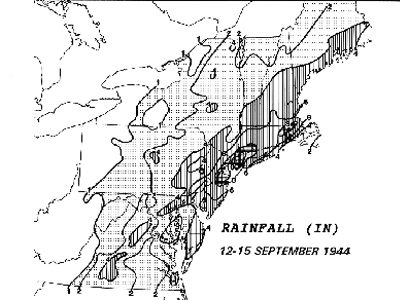 A black and white map with some areas shaded dark to depict rainfall