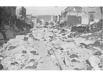 A street filled with rubble and debris