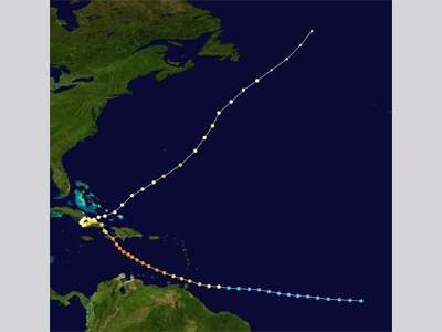 A map with the track of Hurricane Flora