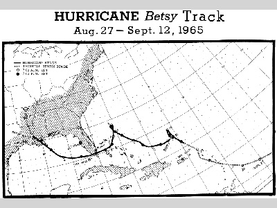 Points on a map representing the track of Hurricane Betsy