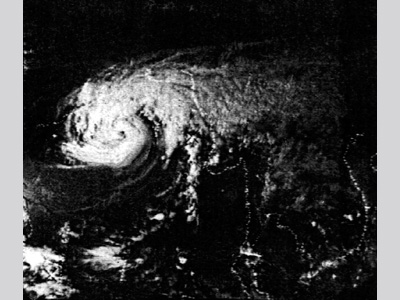 Black and white image of a forming storm