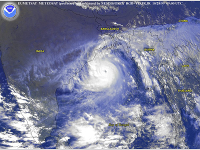 Satellite image of Orissa Cyclone in Bay of Bengal