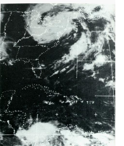 Black and White Satellite photo of a dissipating hurricane