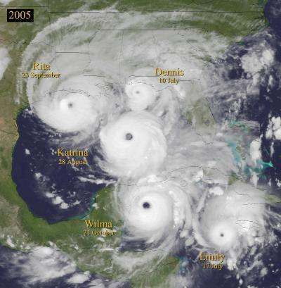 Composite satellite image of hurricanes Dennis, Emily, Katrina, Rita and Wilma.