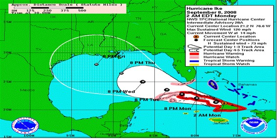 National hurricane center forecast