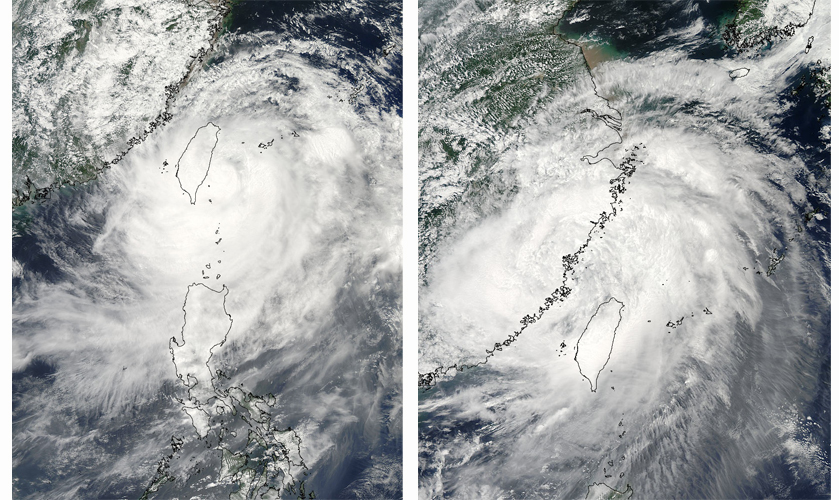 MODIS satellite imagery of Typhoon Morakot before and after it moved over the high mountainous terrain of Taiwan.