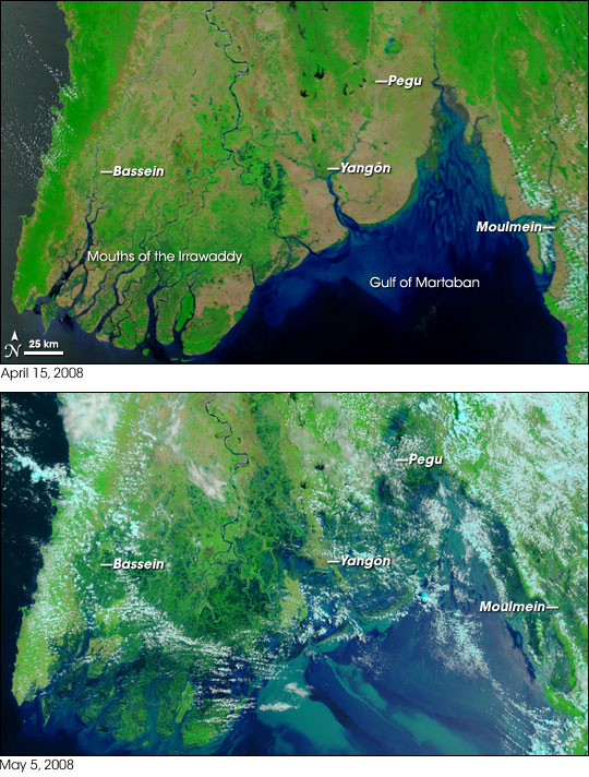 Satellite view of Burma (Myanmar) before and after flooding from Cyclone Nargis.