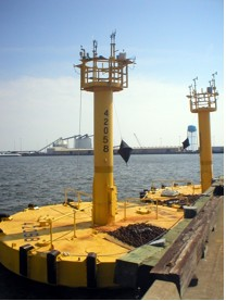 NOAA's new hurricane buoys on dock, waiting to be deployed from Gulfport, Mississippi.