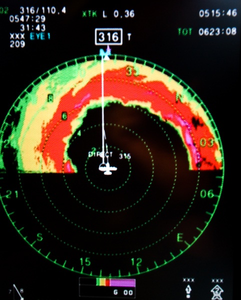 Hurricane Hunter radar view as the aircraft flew through the eye of Hurricane Gustav (2008) at its peak.