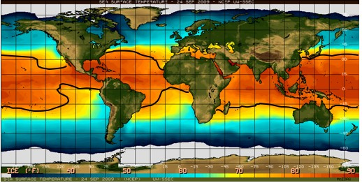Map showing the sea surface temperature (SST) for the global ocean on September 24, 2009.