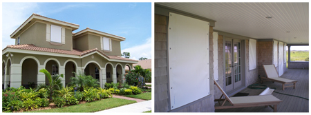 (left) Permanent, PVC-based, pull-down shutters are installed on the top windows of this house.  (right) This home shows partial deployment of the flexible, PVC-based panel hurricane shutter.