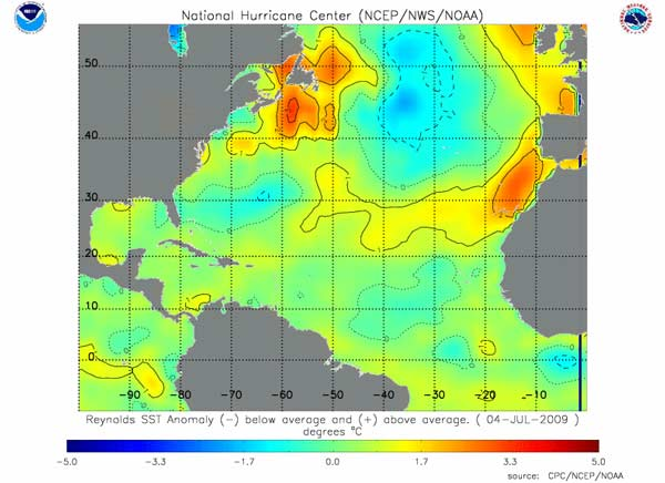 Hurricanes science and society sea surface temperature sea surface temperature anomaly map for the north atlantic gumiabroncs Gallery